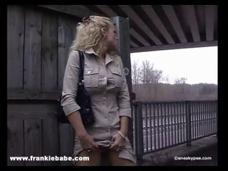 Kinky blonde babe has a real fetish for pissing in public