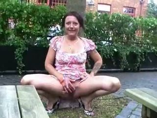 Filthy Shaz flashes and squirts in public as crazy exhibitionist milf roams the