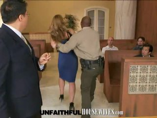 Blonde milf gets fucked by black cock after court