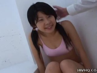 Asian teen sucking it as hard as she c...