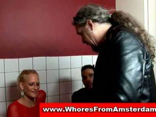 Blonde dutch prostitute sucks customer