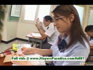 Yamasaki honoka teen asian schoolgirl in the classroom writes tickets