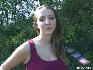 Busty Buffy fucked outdoors in POV