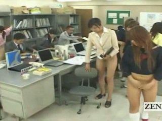 Subtitled pusė nuogas bottomless japoniškas mokykla ofisas