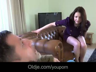Infidel old guy gets laid with wife's big titted young bestie