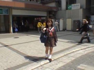 Mikan astonishing warga asia gadis sekolah enjoys awam flashing