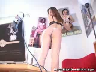 Babe babe next door nikki stripping show her pointy boobs