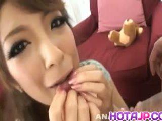 Aiko Nagai with Big Assets Sucks Boner until gets Cum in