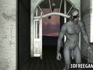Sexy 3D Redhead Babe Getting Fucked Hard By A Zombie