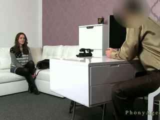 Busty brunette amateur fucked on couch on casting