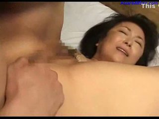 Milf with tiny tits fingered licked by young guy sucking coc