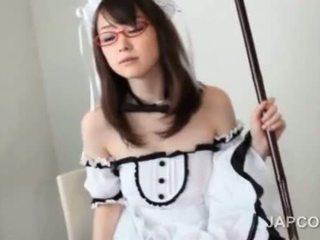 Sweet Asian Maid In Glasses Masturbates Hairy Pussy