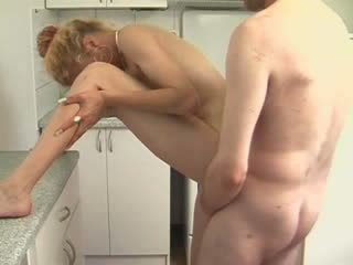 Blond Wife Fucking In Kitchen And Eating cum