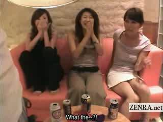 Subtitled kuliste nemfomanyak grup görünüm bir cfnm lolly pop gösteri