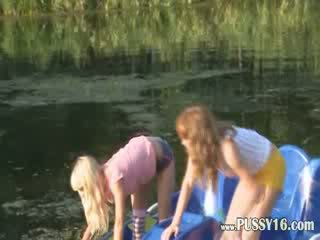Eva and Loly naked by the river
