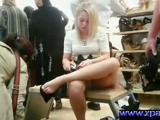 Flashing Her Pussy In Public Shoe Store