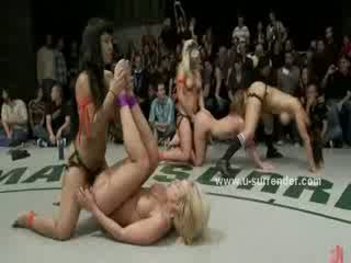 Group of lesbians take part of wrestling show rammed with strapon in hot toy lesbian sex video