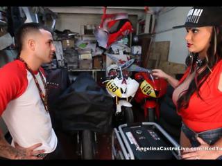 Angelina castro takes cumload w bike garage!