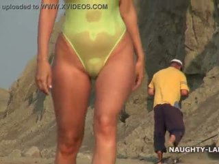Transparent swimsuit and nude on the beach <span class=duration>- 2 min</span>