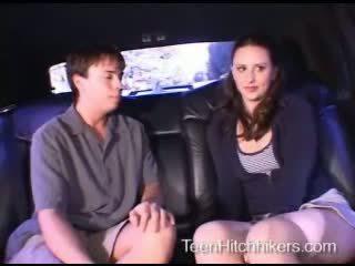 Teen hitchhiker enjoying dreier sex