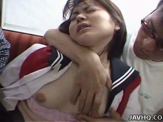 Japanese teen in school uniform has threesome
