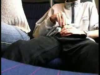 Public train blowjob Video