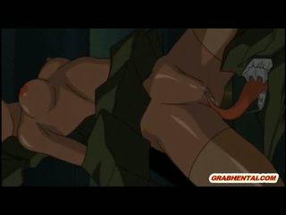 Ghetto anime gets monster hard poked
