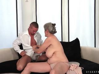 Busty grandma enjoys hot sex with her boyfriend