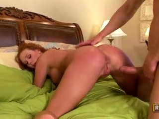 Red Haired Audrey Hollander Getting Her Muff Cracked By A Monster Schlong Behind
