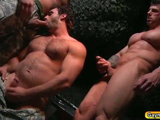Bunker anal fuck gay threesome