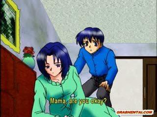 Krūtainas anime māte karstās jāšana loceklis