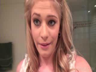 Blond working quim in Bathroom