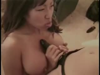 Asian Lesbo sluts sucking a fat bastard