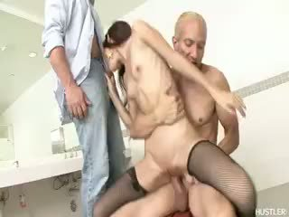 see brunette more, see blowjob free, great threesome