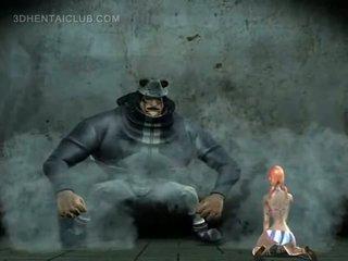 Slutty anime redhead blowing a large phallus