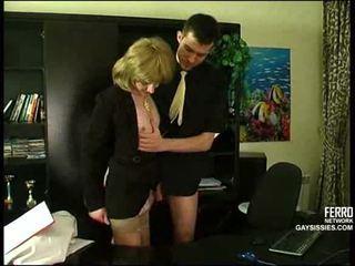 crossdresser, birou, anal