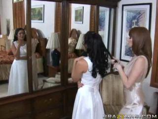 brunett, bride, stora tuttar