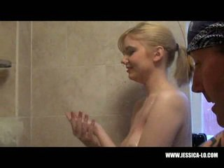 Jessica Lo plays in the shower