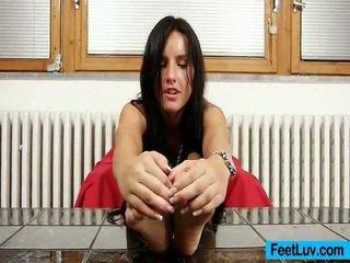 brunette, hardcore sex, voet fetish