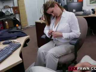 Booby business lady banged by pawn dude