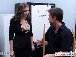 Stockinged cutie alex chance nailed in the ofis