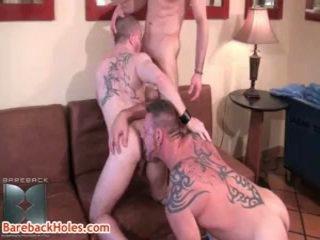 Colin steele, kasey anthony și butch bloom homosexual in trei 5 de barebackholes