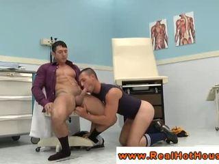 Powerful gay stud giving head