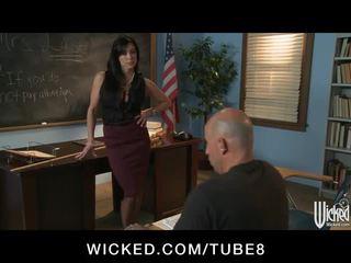 Strict brunette teacher punishes her s...