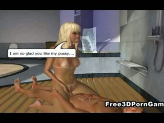 3D blonde hottie gets her tight pussy ...