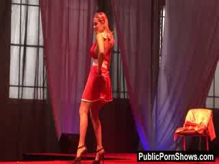Blondie stripper with Big Tits strips of her outfit and dances with an umbrella