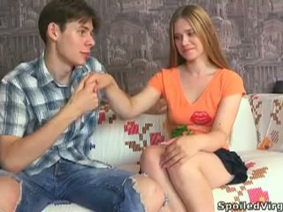 Delicious blonde teen augustina serving two cocks