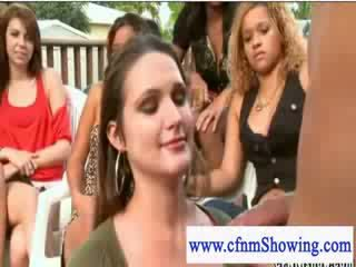 Kinky cfnm girl rubs cum on her face after giving blowjob