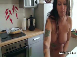 Step-Son Caught German Mom naked in Kitchen and Fuck her