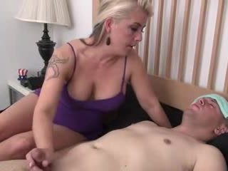 Mom helps son jack off